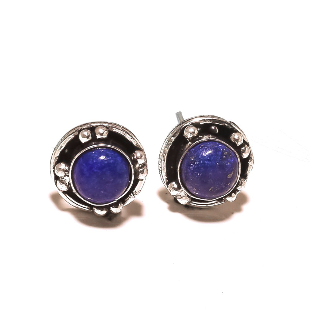 Handmade Jewelry Gift Jewelry Blue Lapis Sterling Silver Plated Stud// Earring 12 mm