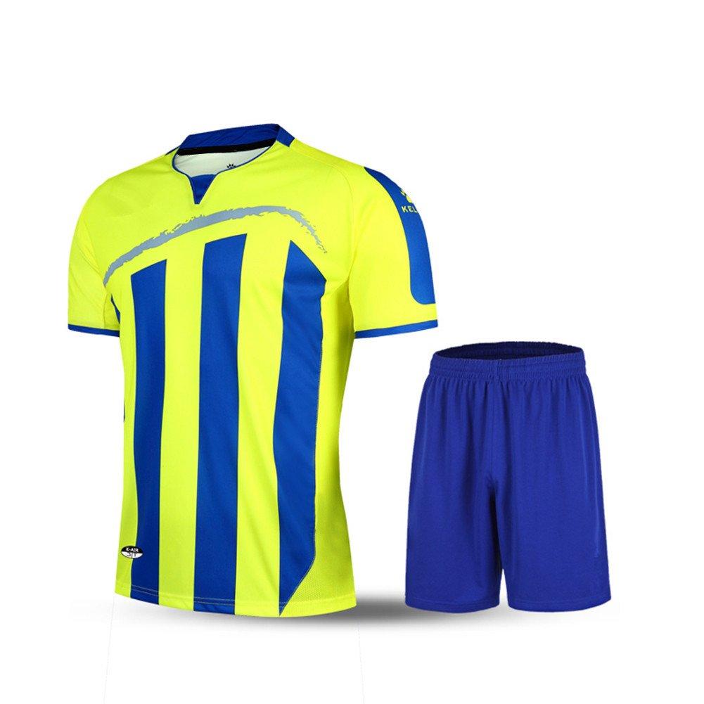 Kelme半袖サッカースポーツストライプUniform B01ELABT22 4L|イエロー/ブルー イエロー/ブルー 4L
