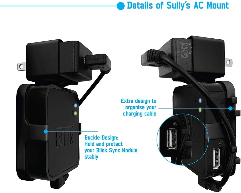 Blink Sync Module Mount (Black) – Compatible w/Blink Sync Mount & Blink XT Sync Mount – A/C Mount – Power Cable USB Cord Provided – Wireless - No Screws – PVC - by Sully