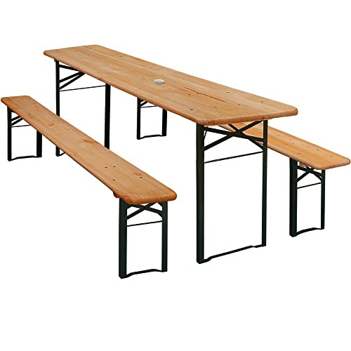 Wooden Outdoor Party Table Set 2x Benches W/Parasol Hole U2013 German Beer  Garden Furniture