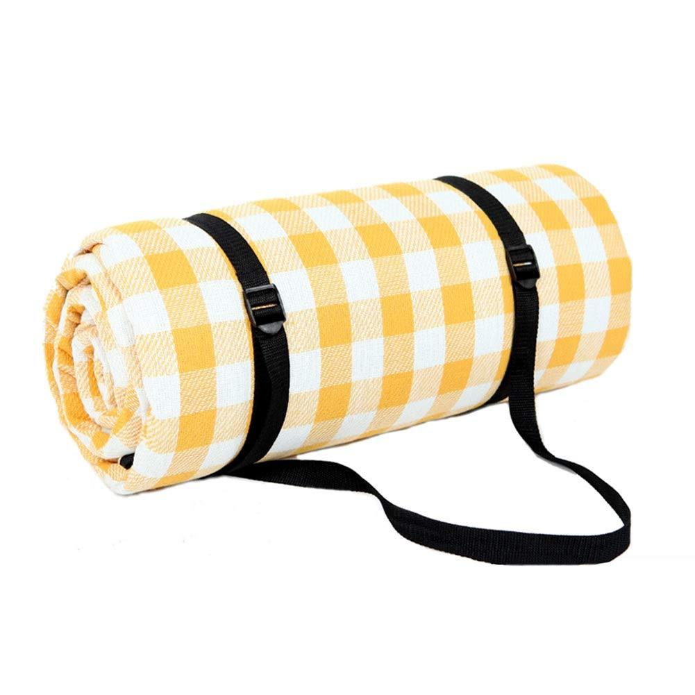 Picnic Blanket Extra Large Waterproof, Outdoor Sandproof Beach Blanket, Tent Carpet, Hiking Travel Tent BBQ Mat, Yellow Plaid (Size : 300x300cm)