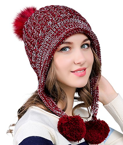 (Urban CoCo Women's Winter Cable Knitted Pom Pom Beanie Hat Earflap Caps (Wine red))