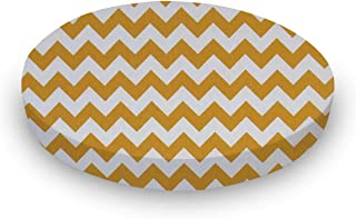 product image for SheetWorld Fitted Oval Crib Sheet (Stokke Sleepi) - Gold Chevron Zigzag - Made In USA