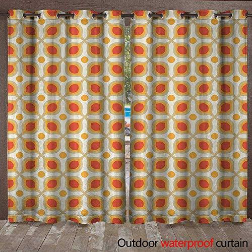 Geometric Home Patio Outdoor Curtain Linked Bold Geometric Shapes 70s Vintage Minimalist Pattern Boho Home DecorW120 x L84 Orange Cream