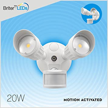 amazon com briter led motion activated security flood light 180 briter led motion activated security flood light 180 degree outdoor white motion
