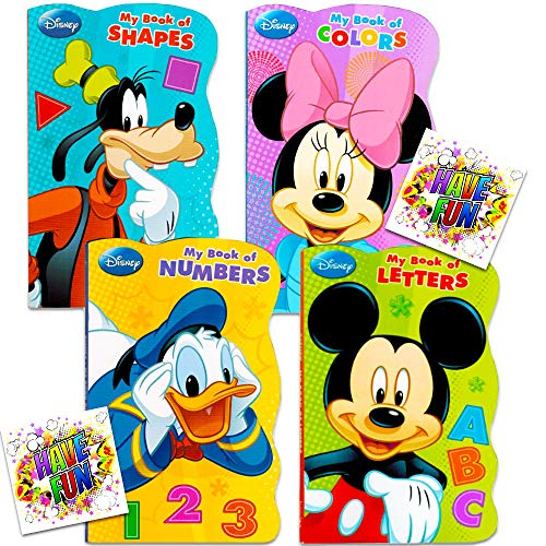 "Disney Mickey Mouse ""My First Books"" -- Set of 4 Shaped Disney Mickey Mouse Board Books for Toddlers Kids"