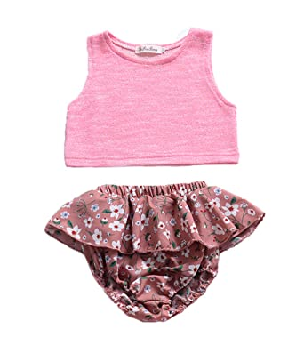 f6035194d Newborn Infant Baby Girl Shorts Outfits Set Ruffle T-Shirt Vest Tank Top +  Short