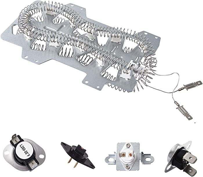 Samsung Dryer Heating Element (DC47-00019A), (DC96-00887A and DC47-00016A) Thermal Fuse, Thermostat (DC47-00018A) and Dryer Thermistor (DC32-00007A) Repair Kit Compatible with Samsung (5Pack)