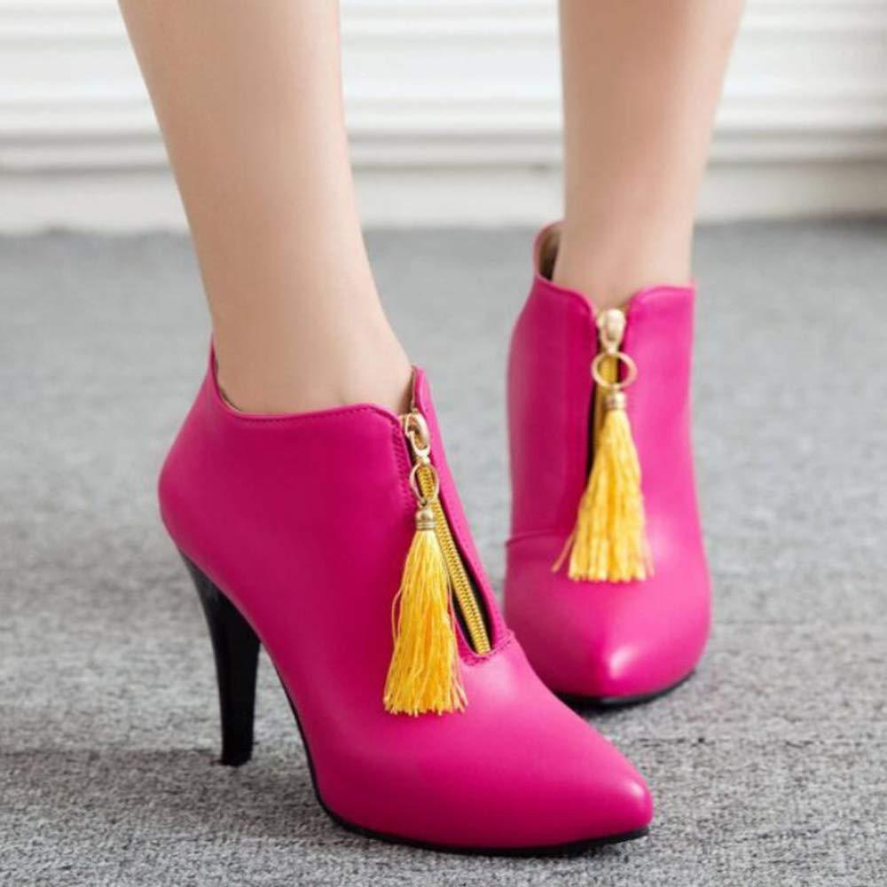 CITW Damenstiefel Spitzen Spitzen Damenstiefel Hochhackige Stiefel Nackte Stiefel Martin Stiefel Große Damenstiefel Warme Stiefel,rot,UK2 EUR36 530e37