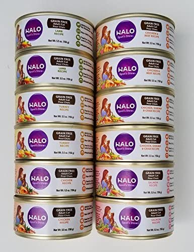 Halo Spot s Stew Grain-Free Canned Cat Food Variety Pack – Lamb, Chicken, Shrimp Crab, Chicken Beef, Salmon, Turkey, and Chicken Recipe 12 Pack Bundle