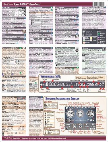 Nikon D3300 Digital SLR CheatSheet (short version, laminated instruction manual)