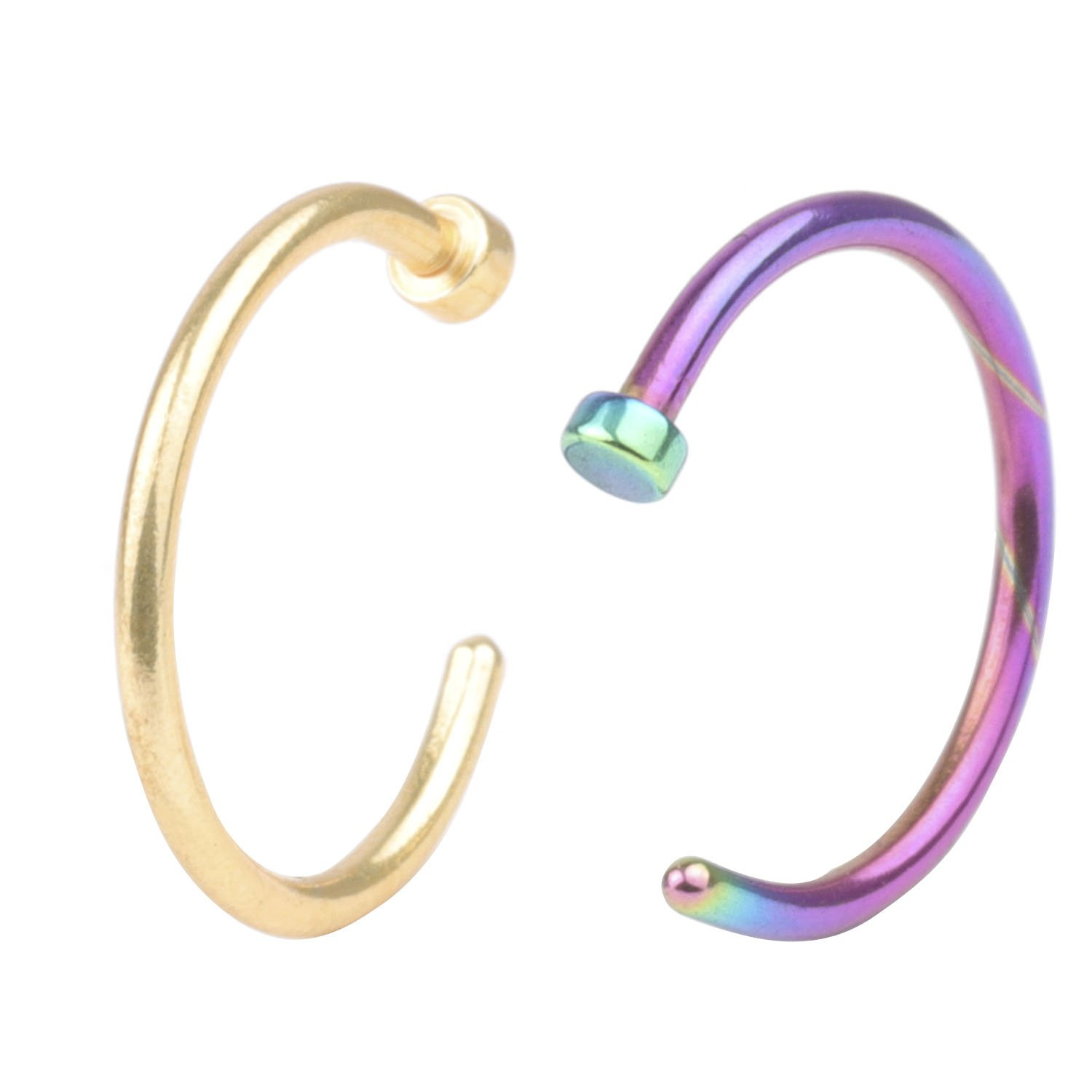 2Pcs 20G 8mm Hot Colorful Stainless Steel Nose Open Hoop Ring Earring Body Piercing Studs Jewelry Set Fashion Piercing Jewelry A+ CM