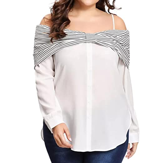 3580304ad96a6 Image Unavailable. Image not available for. Color  Clearance Sale! Striped Women  Plus Size Bow Shirt Cold Shoulder Long Sleeve Blouse by MEEYA
