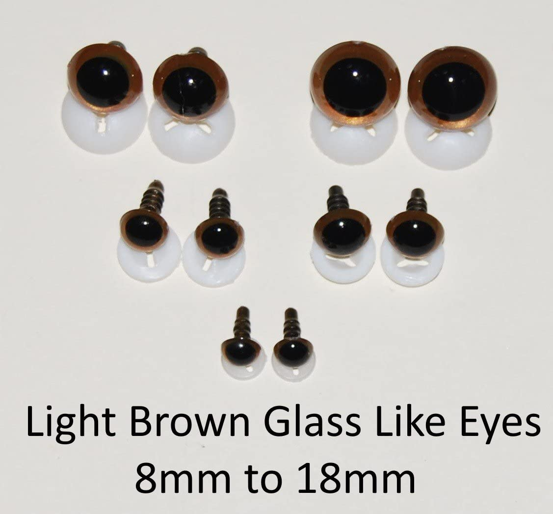 GLASS LIKE Blue Eyes with Plastic Backs Pairs 8mm Safety Eyes for Soft Toy or Teddy Bear Making by celloexpress