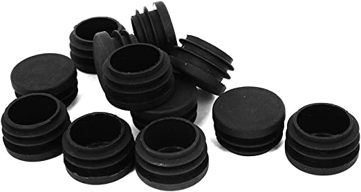 sourcingmap 12 Pcs Black Plastic Round 12mm Pipe End Blanking Caps Bung Tube Tubing Insert