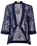 GRACE KARIN Casual Sheer Floral Open Front Cardigan Loose Fit Blouse Top(XL, Navy 83)