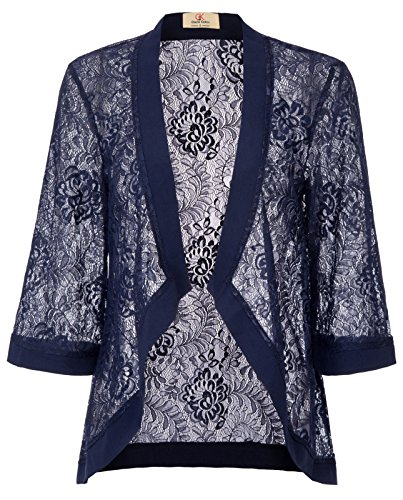 GRACE KARIN Casual Lace Shrug Bolero, Cropped Jacket Short Cardigan(M, Navy 83) by GRACE KARIN