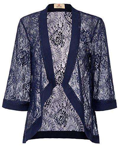 GRACE KARIN Elegant Open Front Lace Crochet Bolero Shrug Cardigan(2XL, Navy (Open Front Strapless Gown)