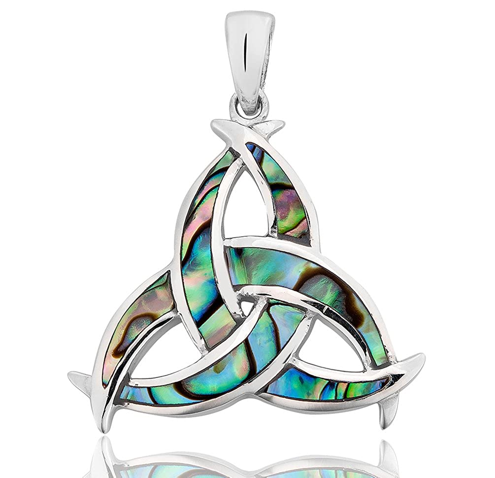 DTPSilver - 925 Sterling Silver and Abalone Paua Shell Celtic Trinity Pendant