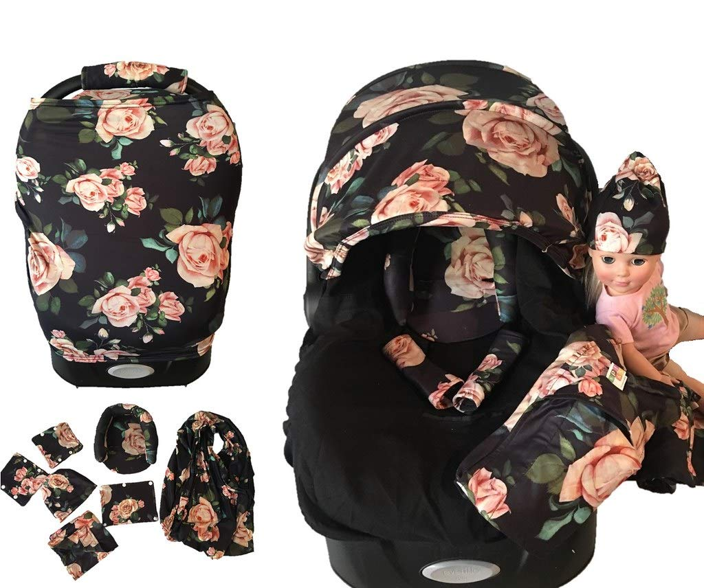 9pc Baby Boy Baby Girl Ultimate Set of Infant Car Seat Cover Canopy Headrest Blanket Hat Nursing Scarf, 21DR02