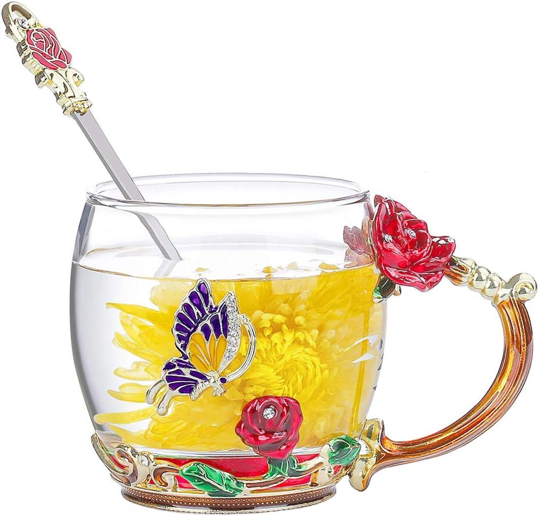 DasyFly Blue Butterfly and Rose Flower Tea Cup,Handmade Enamel Glass Coffee Mug