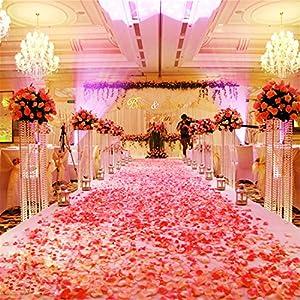 Ruisha 2000pcs Fashion Atificial Polyester Flowers for Romantic Wedding Decorations Silk Rose Petals Confetti Color 101