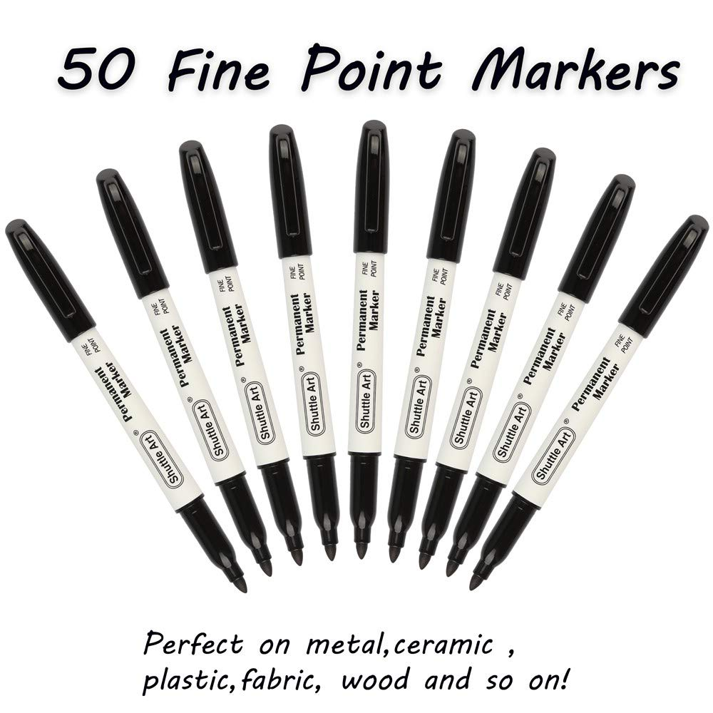 Permanent Markers,Shuttle Art 50 Pack Black Permanent Marker set,Fine Point, Works on Plastic,Wood,Stone,Metal and Glass for Doodling, Marking by Shuttle Art (Image #2)