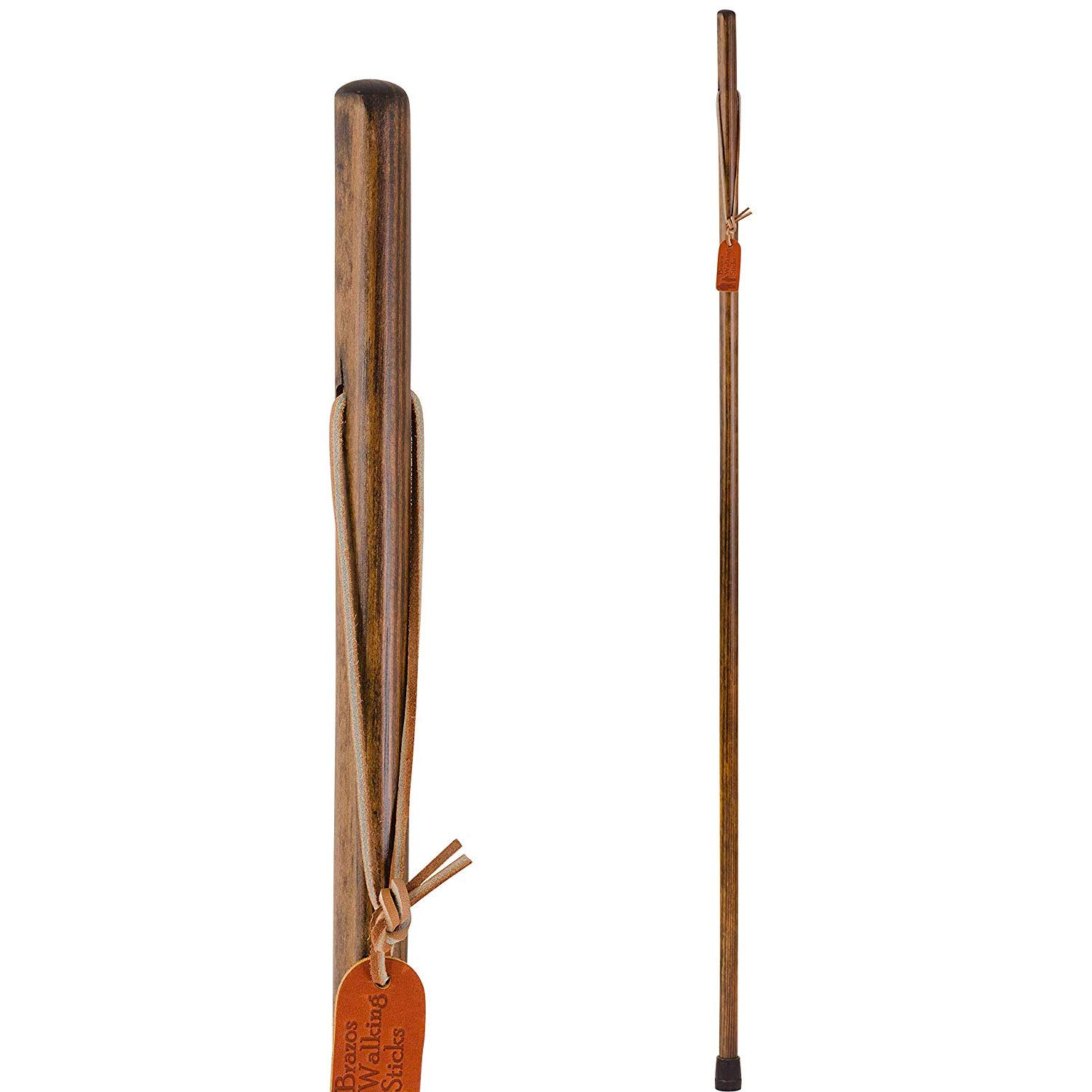 Brazos 41 Free Form Pine Wood Walking Stick Hiking Trekking Pole, Brown, Made in the USA