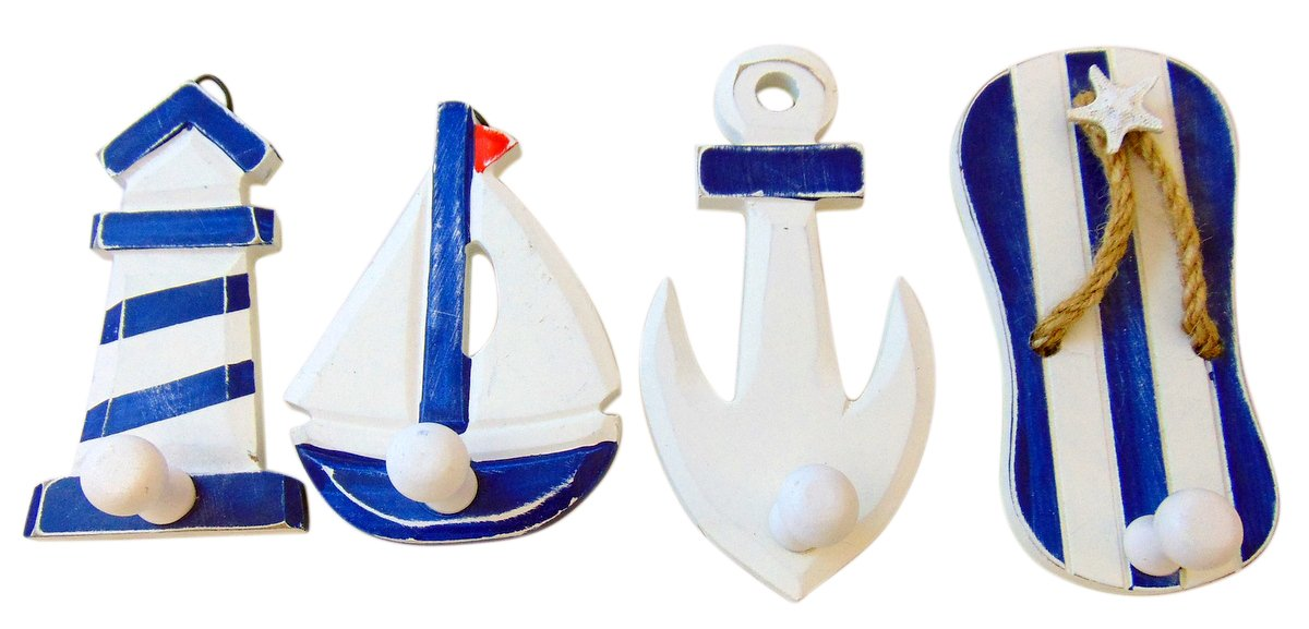 Wooden Beach Theme Wall Hooks Hand Painted Wood Set of 4