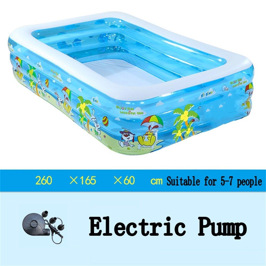 Bañera Piscina inflable grande de la piscina de la piscina de la piscina de la piscina de la piscina de la piscina / de la piscina para el niño / bebé / familia con la bomba eléctrica Conveniente para 5-7 personas (260  165