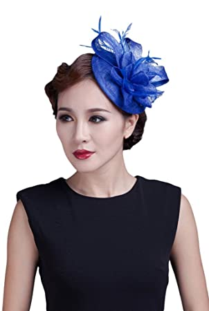 La Vogue Women Sinamay Small Fascinator Feather Cocktail Hat Hair Clip  Light Royal Blue 53770fc27b7