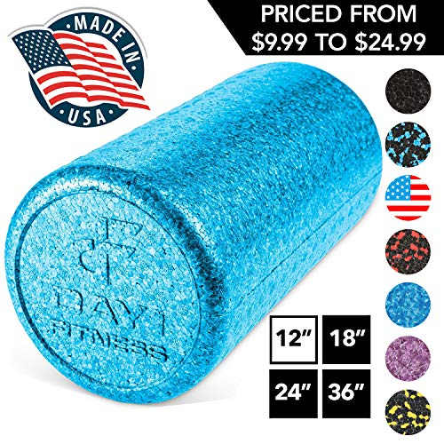 """High Density Muscle Foam Rollers by Day 1 Fitness - Sports Massage Rollers for Stretching, Physical Therapy, Deep Tissue, Myofascial Release - Ideal for Exercise and Pain Relief - Solid Blue, 12"""""""