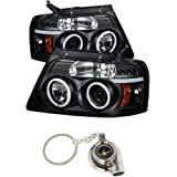 Ford F150 Projector Headlights Version 2 CCFL Halo LED Black Housing With Clear Lens+ Free Gift