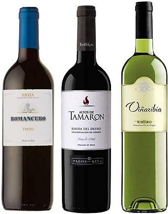 Pack de Vinos Rioja Romancero Cosecha 75cl - Ribera del Duero Altos de Tamaron Joven 75cl - Ribeiro Blanco Viñaribia 75cl - Especial para regalo y ocasiones especiales - Envío 24/48h asegurado: