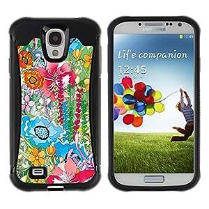 Suave TPU Caso Carcasa de Caucho Funda para Samsung Galaxy S4 I9500 / Watercolor Painting Summer Field / STRONG