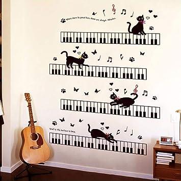Runinstickers Pegatinas De Pared El Gato Sobre El Piano