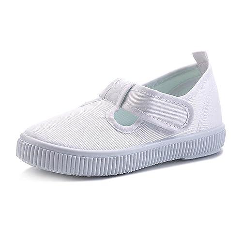 BININBOX Kids Boys Girls Canvas White Shoes For Toddler/Little Kids (10.5 M  Little