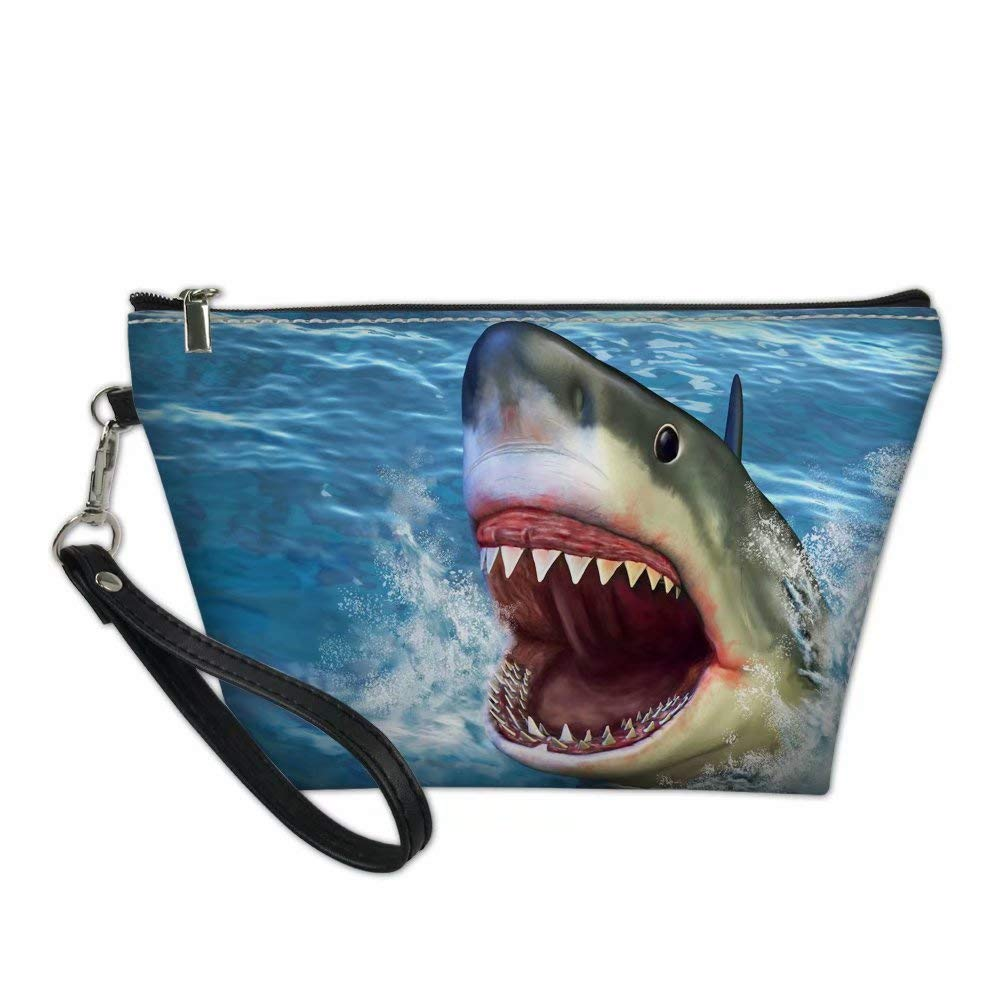 Dellukee Portable Travel Cosmetic Organizer for Women Shark Print Roomy Zipper Closure Toiletry Pouch Travel Makeup Bag Purse