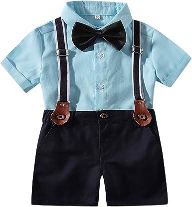 PinkLu Conjunto Niño Cómodo Color sólido Camisa bebé Manga Corta Corbata Camisa Pantalones Babero Traje Ropa de Caballero Pantalones Cortos: Amazon.es: Ropa y accesorios