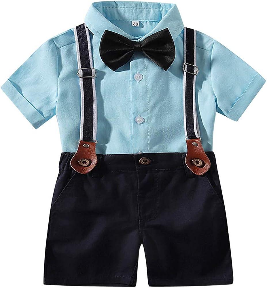 YWLINK NiñO Camisa De Pajarita De Color SóLido De Manga Corta+Pantalones Babero Caballero Disfraces Infantiles Regalo De CumpleañOs Rendimiento Al Aire Libre(Azul, 6-12 meses/70): Amazon.es: Ropa y accesorios