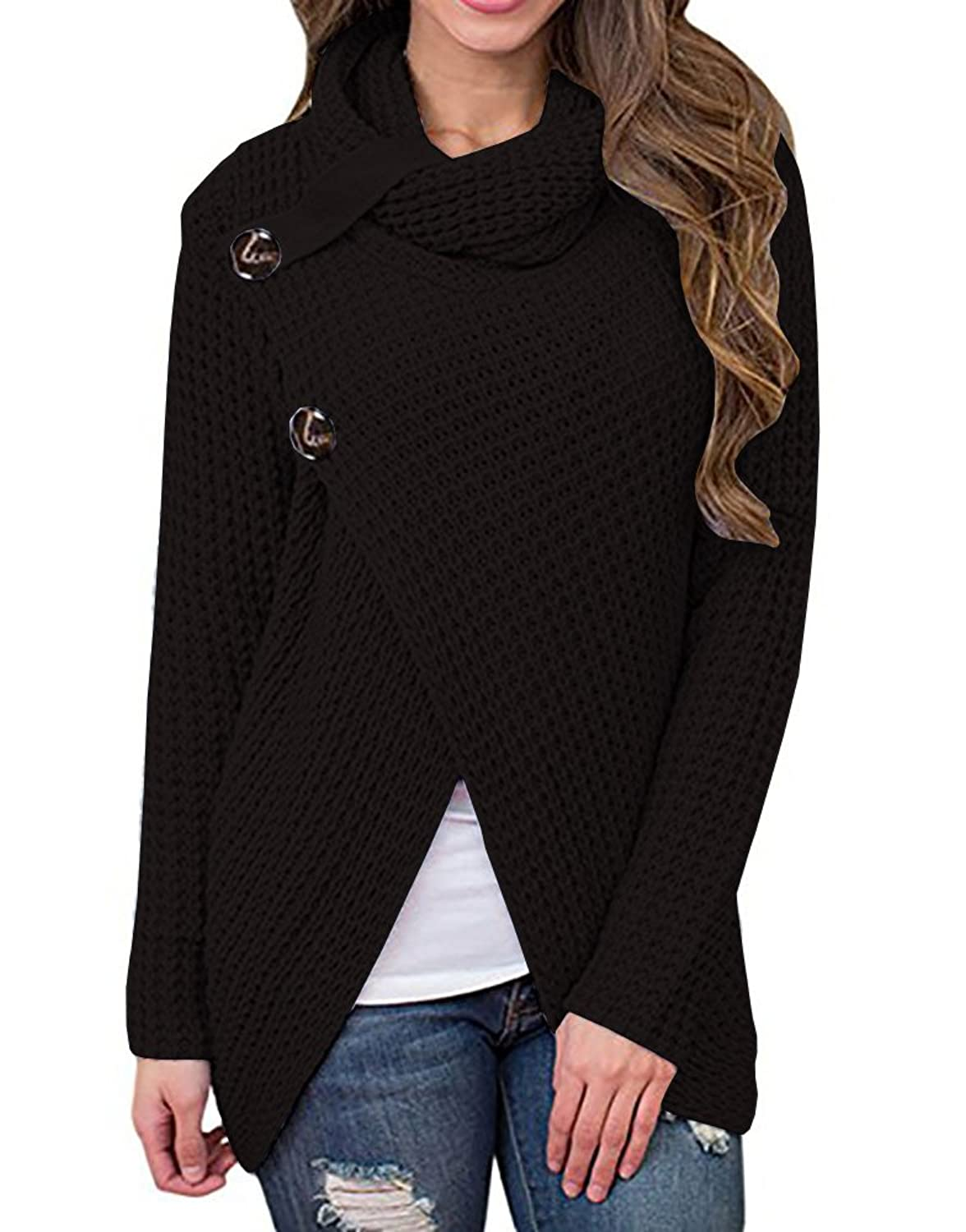 Makkrom Women's Classic Six Button Cable Hooded Knit Outwear ...