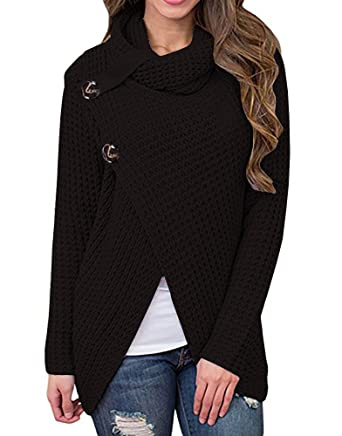 Inorin Womens Sweaters Casual Cowl Neck Chunky Cable Knit Wrap ...