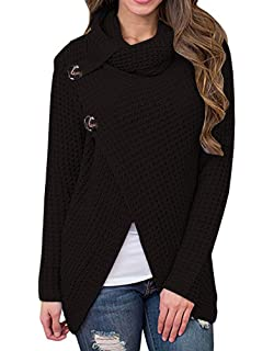 Inorin Womens Sweaters Casual Cowl Neck Chunky Cable Knit Wrap Pullover  Sweater 21fd5e334