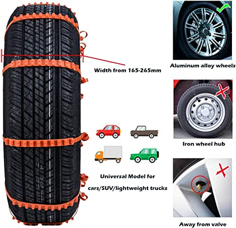 145-295mm DARMAR Anti-Skid Snow Chains for Tyres 10Pcs Portable Easy to Mount Emergency Traction Car Tire with Pressure Gauge /& Gloves Universal for Any Tire Width 5.7-11.6in