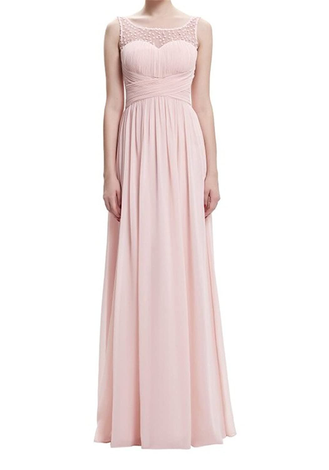 AngelDragon Straps Ruched Waist Chiffon Party Prom Long Bridesmaid Dress