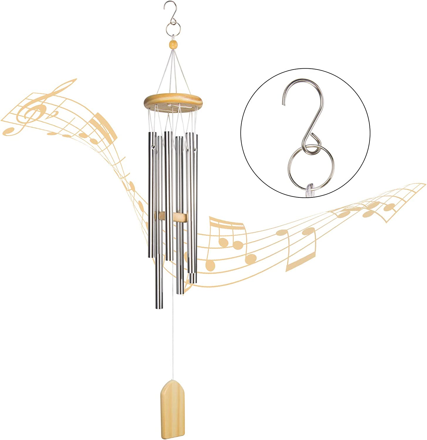 Fohil Wind Chimes Outdoor, 6 Aluminum Tubes Wooden Memorial Wind Chimes, Wind Bell Best Gift Chimes for Garden Patio Outdoor Yard Porch Home Decoration 25.6Inch (Light Brown)