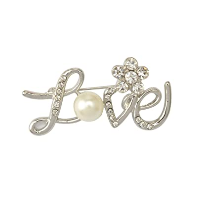 Imported Korean Love Sign Brooch Pin Rhinestone Perfect Wedding Bridal  Party Gift