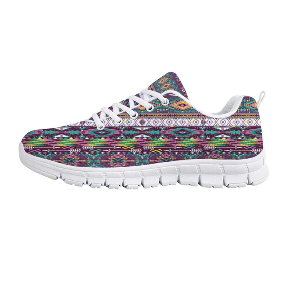 YOLIYANA Native American Fashion Gym ShoesEthnic Traditional Aztec Pattern Geometric Figures and Arrows Art Sneakers for Girls Womens,US 5