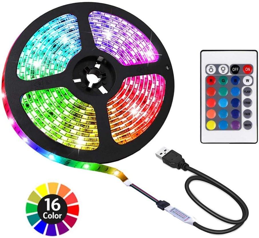 ACONDE 6.56 feet USB LED Strip Lights, DIY Indoor Decoration, TV Backlight, 24 Keys Remote