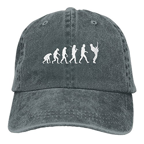 Evolution Funny Cap (Men Women Guitar Player Evolution Funny Denim Fabric Baseball Hat Adjustable Trucker Cap)